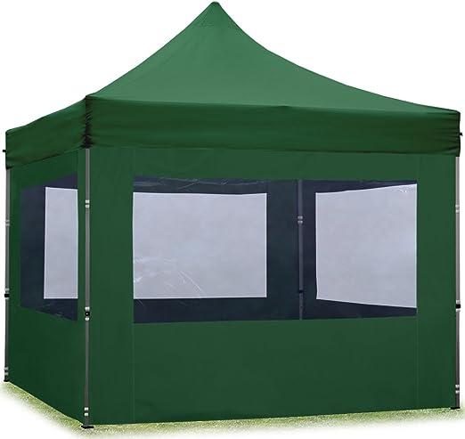 TOOLPORT Tente Pliante 3x3 m - 4 côtés Aluminium Barnum Chapiteau Pliant  Tonnelle Stand Paddock Réception Abri Vert Fonce