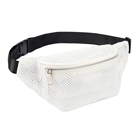f647cce96f7a LOPHORINA Mesh translucent Fashion Waist Bag Water Resistant Adjustable  Fanny Pack Unisex White