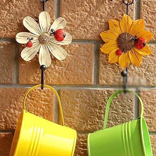 Creative Daisy Resin Wall Hooks Wall Mounted Art Flower Iron Hook Hand-painted Hanging Coat / Hat /Key/ Towel Hooks Home Decoration(Set of 4) by Skyling (Image #1)