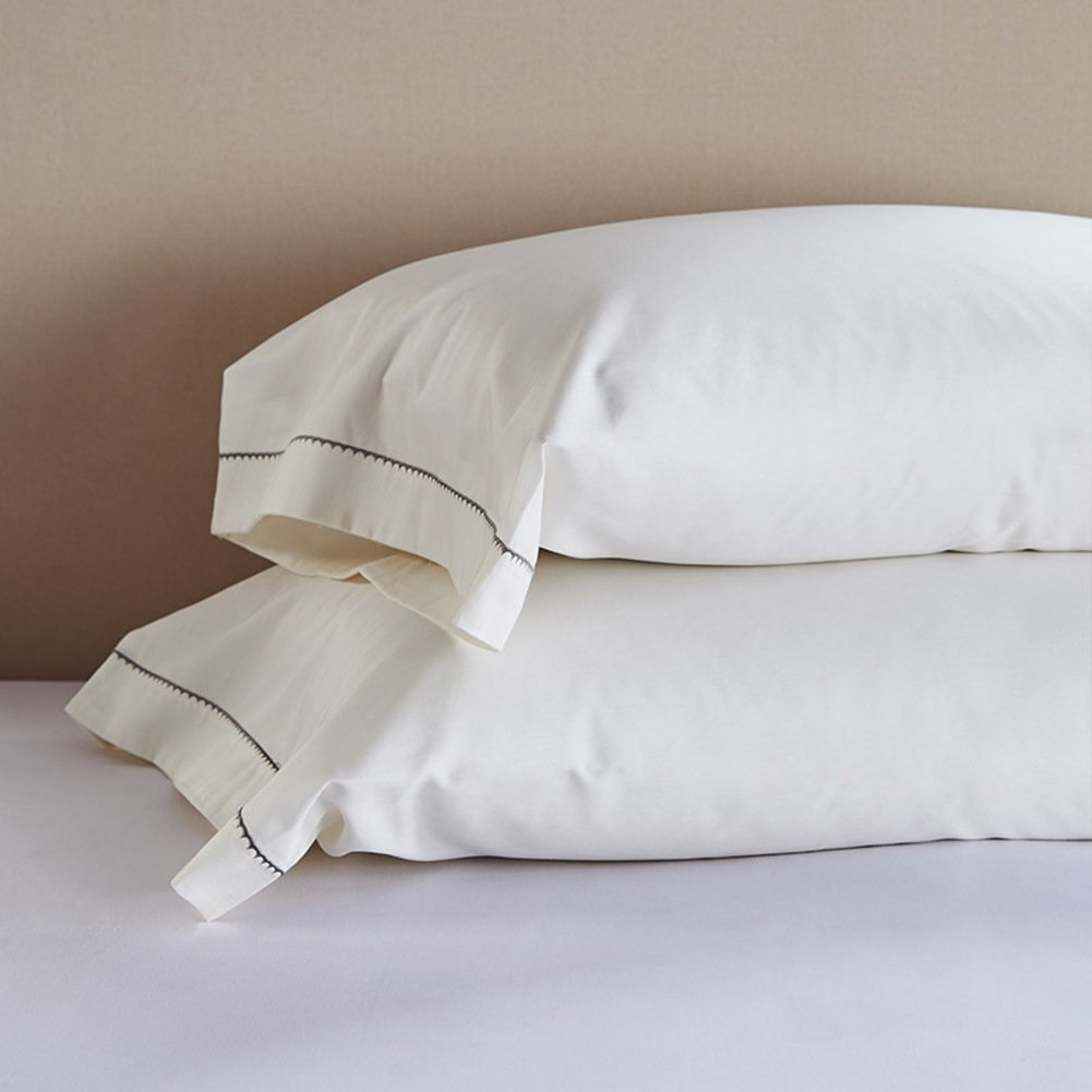 Cotton embroidered pillowcase covers,Cotton satin embroidery hotel pillowcase protectors,Reducesallergiesandrespiratoryirritation,'' setof2''-B 48x74cm(19x29inch)