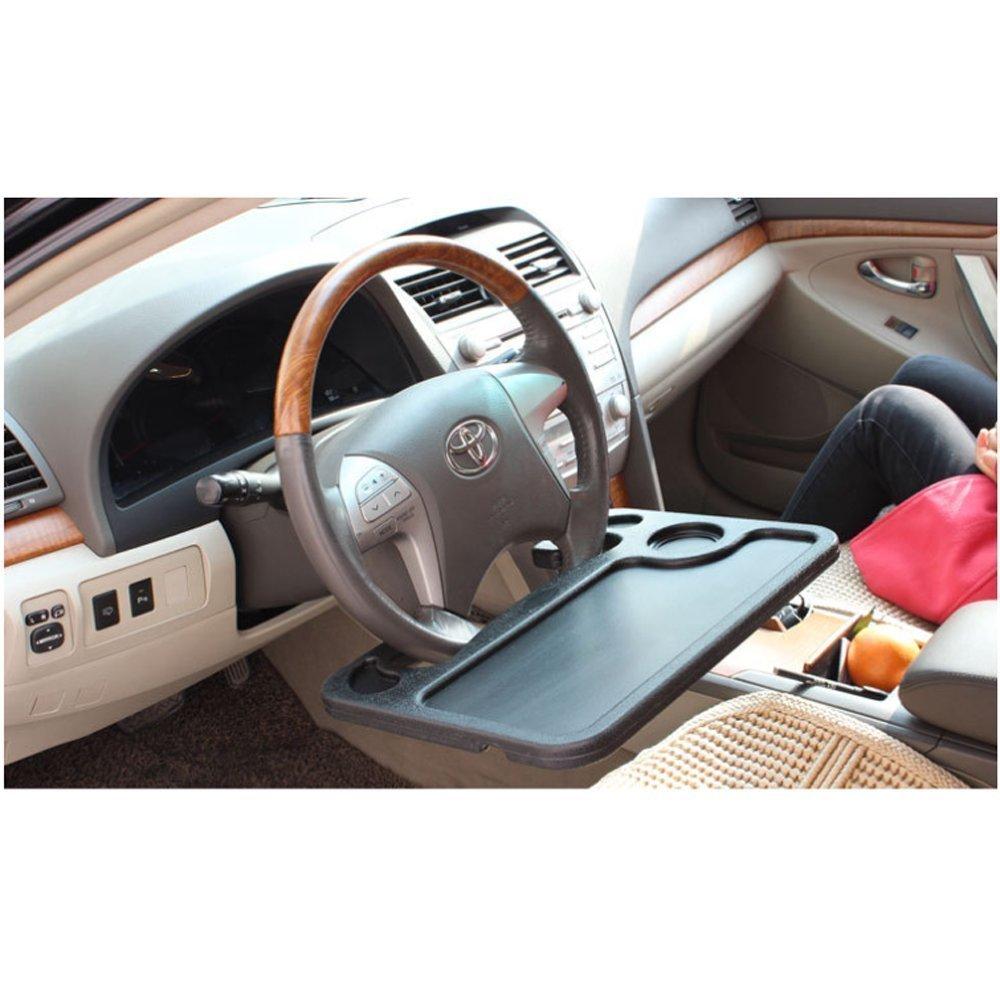 Tavolino porta bevande e alimenti o uso ufficio con aggancio al volante dell'automobile. i-Shop