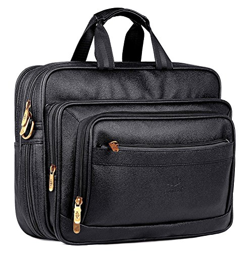 Luxury Hub The Clownfish Executive Laptop Briefcase | 15.6 inch Laptop Bag | Unisex Office Bag | Tablet Bag (Black) best leather quality (Executive Hub)