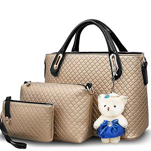 patente bolso Xagoo de cuero Messenger Bag para damas llavero oso + Bolsa + Pequeño Tres bolsas para todas las ocasiones (Estilo 1) Estilo 1