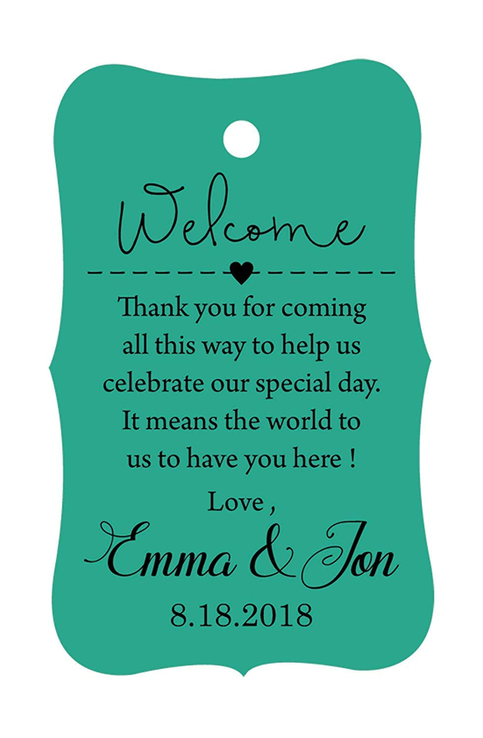100 PCS Wedding Welcome Personalized Wedding Favor Gift Paper Tags Custom Made Thank you Hang Tags