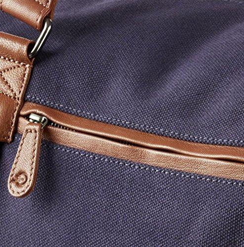 """WIND & VIBES BLOUBERG """"NAVY"""" - Weekender Reisetasche aus Baumwoll Canvas und Echtleder (Handgepäckmaße). Handgefertigte Design Tasche aus marineblauem Canvas und Cognac Leder."""