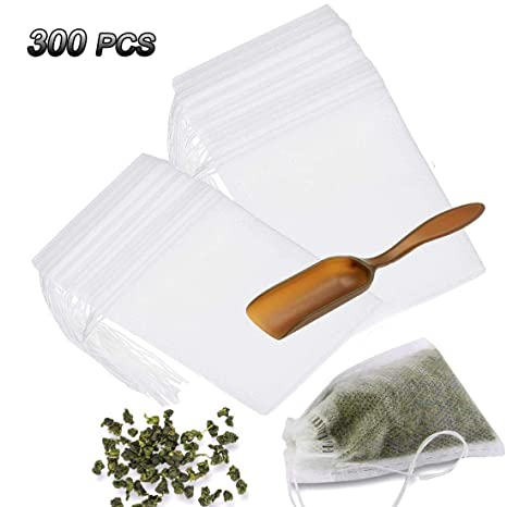 300 PCS Disposable Tea Filter Bags with Free Tea Spoon, Empty Cotton Drawstring Seal Filter Tea Bags for Loose Leaf Teal(3.54 x 2.75 inch) (300 PCS)