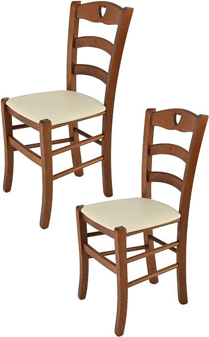 tmcs Tommychairs Set 2 sedie Classiche Cuore per Cucina e Sala da Pranzo, Robusta Struttura in Legno di faggio Verniciata Color Noce e Seduta