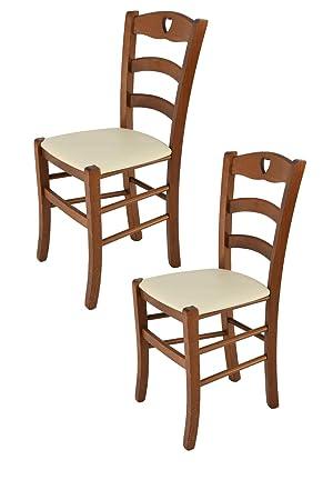 Tommychairs sillas de Design - Set de 2 Sillas Modelo Cuore para Cocina, Comedor, Bar y Restaurante, con Estructura en Madera de Haya Pintado Nuez y ...