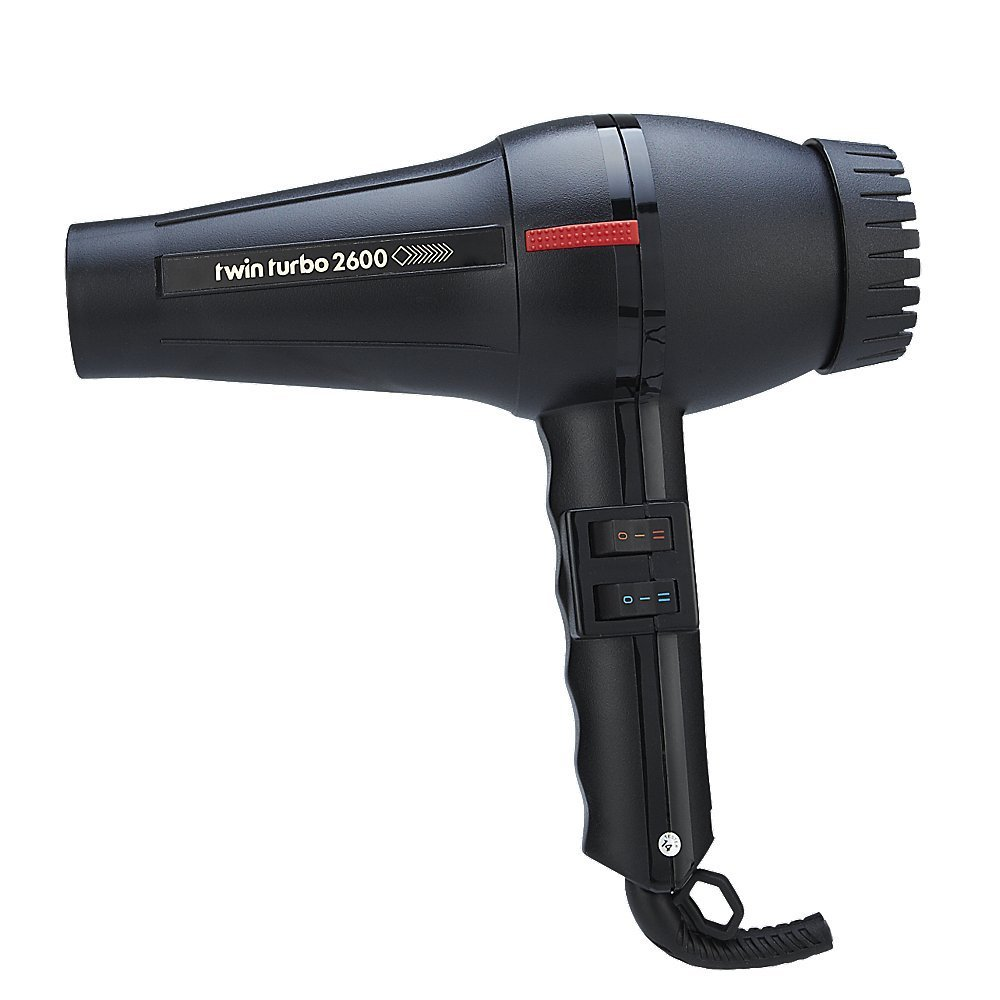 Pibbs TwinTurbo Power 2600 Italian Professional Hair Blow Dryer, 1700 Watts with Extra Quiet Operation, 4 Temperature Settings with 2 Speeds and True Cold Shot Button, Features a Anti Overheating Device, with Self-Extinguishing, Shock Temperature, Extra Wide Concentrator Nozzle, with Extra Long 9 Ft. Power Cord