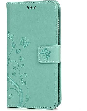 Funda con tapa y diseño floral con mariposas para Huawei P Smart/Enjoy 7S.