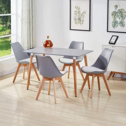 Fabulous Goldfan Dining Table And Chairs Set 4 Modern Rectangle Table And Tulip Chairs With Kitchen Dining Table Lounge Wood Style Grey Unemploymentrelief Wooden Chair Designs For Living Room Unemploymentrelieforg