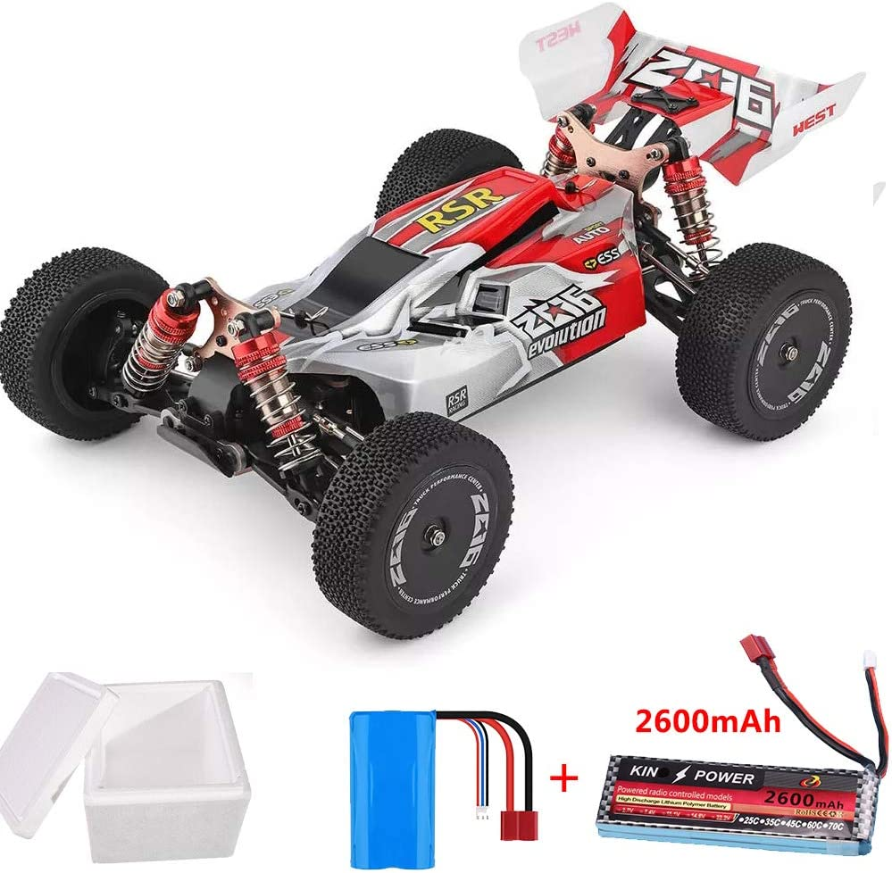 Veecome Wltoys 144001 1//14 2.4G 4WD High Speed Racing RC Car Vehicle Models 60km//h 7.4V 2600mAh Battery red
