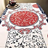 Cloth Tablecloth,Fabric Flower Love High-end Table Cloth,Cotton Printing And Dyeing Tea Table Cloth-A 150x210cm(59x83inch)
