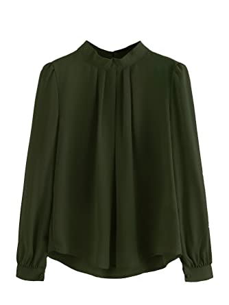 50a9be52886267 SheIn Women's Casual Mock Neck Long Sleeve Chiffon Sheer Top Blouse Small  Army Green