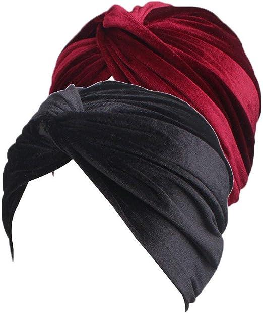 Sombrero De Mujer Suave Dorado Turbante Sólido Terciopelo Musulmán Cáncer  Pérdida Del Años 20 Cabello Sombrero 7ee428b52fd