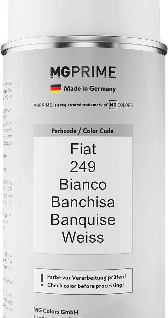 Mg Prime Autolack Sprühdosen Set Für Fiat 249 Bianco Banchisa Banquise Weiss Basislack Klarlack Spraydose 400ml Auto
