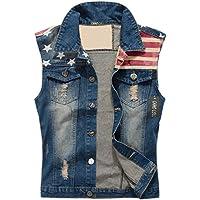 Camo Coll Men's Sleeveless Lapel Denim Vest Jacket