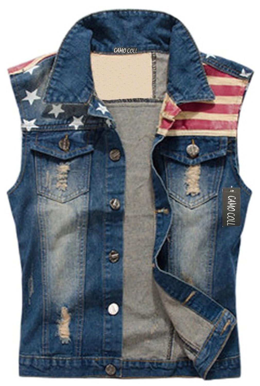 Camo Coll Men's Sleeveless Lapel Denim Vest Jacket at Amazon Men's ...