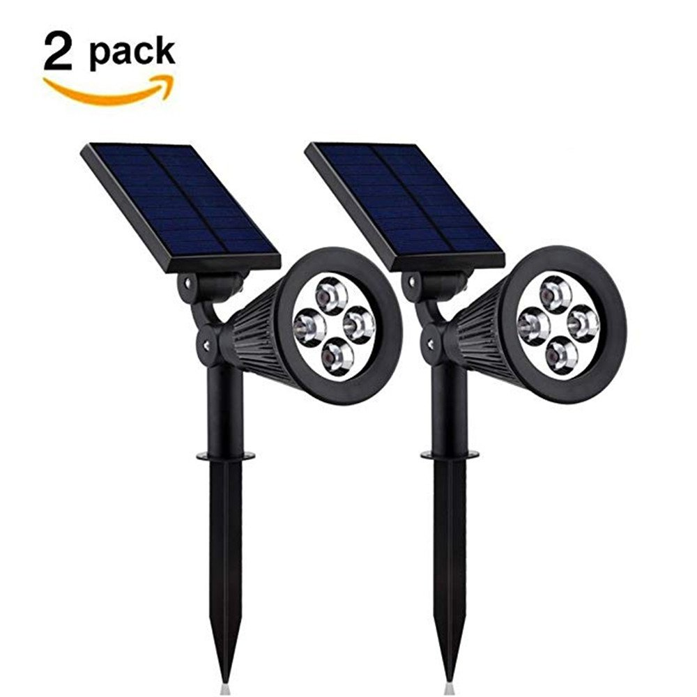 AIYIOUWEI Solar Landscape Garden Lights 2-in-1 Waterproof 4 LED Wall Lights Dust to Dawn(2 Pack)