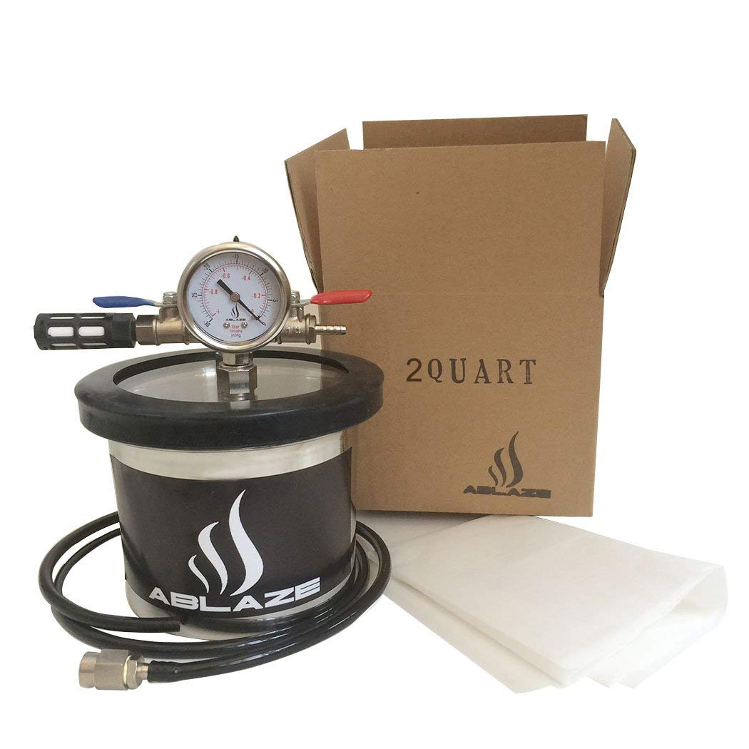ABLAZE Small Mini 2 Quart Vacuum Chamber Stainless Steel Degassing Urethanes Silicone Epoxies