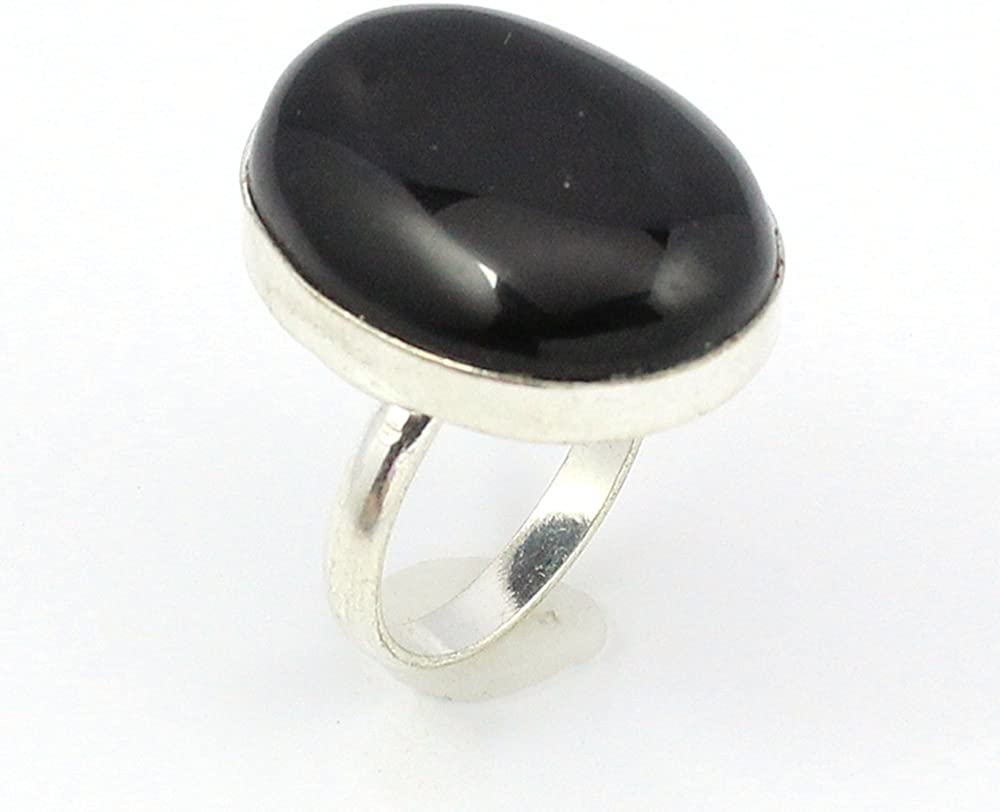 BEST QUALITY BLACK ONYX FASHION JEWELRY .925 SILVER PLATED RING S12439