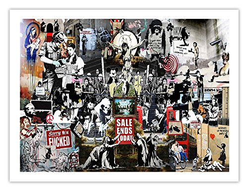 Banksy Collage Poster - Graffiti Street Art Mr Brainwash Handmade Gallery Print ()