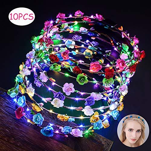 LED Flower Crown, Fascigirl 10PCS Flower Wreath Garland Flower Headdress Luminous Headpiece Light-up Hair Hoop for Wedding Bridal Night Party Decor Festival Holiday Christmas Halloween Party