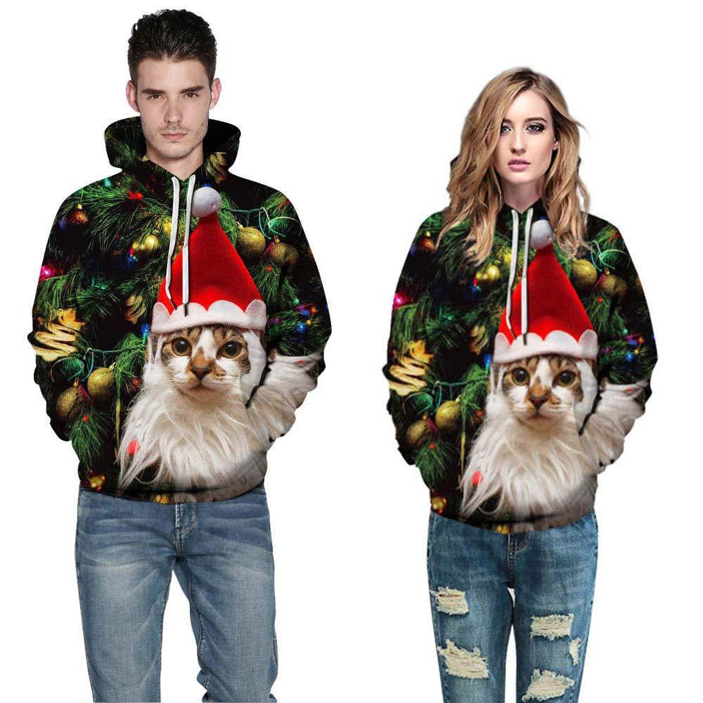 Kamendita Women's Tops Long Sleeve Unisex 3D Christmas Print Long Sleeve Couples Hoodies Sweatshirts Pullover Blouse