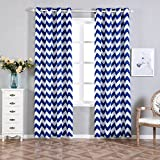 Efavormart 2 Panels White/Royal Blue Polyester Chevron Design Thermal Insulated Blackout Room Darkening Grommet Top Curtain 52″x96″ Review