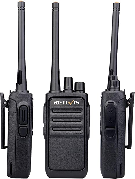 Retevis RT17 Two-Way Radios Long Range Rechargeable License Free UHF Vox Scan Encryption Security Walkie Talkies with Earpiece G Shape 10 Pack