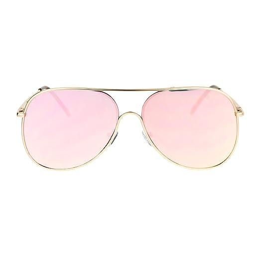 8f7c18bc89 SA106 Mens Exposed Lens Color Mirror Unique Pilot Retro Sunglasses Gold Pink