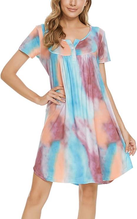 camis/ón de dormir con bolsillos MINTLIMIT Camiseta de dormir para mujer camisetas de manga corta botones cuello en V