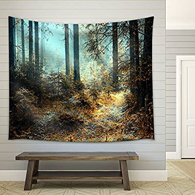 A Breathtaking View as The Sun Shines Through The Forest on a Misty Day. - Fabric Wall Tapestry Home Decor - 51x60 inches