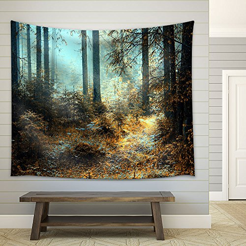 A Breathtaking View as The Sun Shines Through The Forest on a Misty Day Fabric Wall