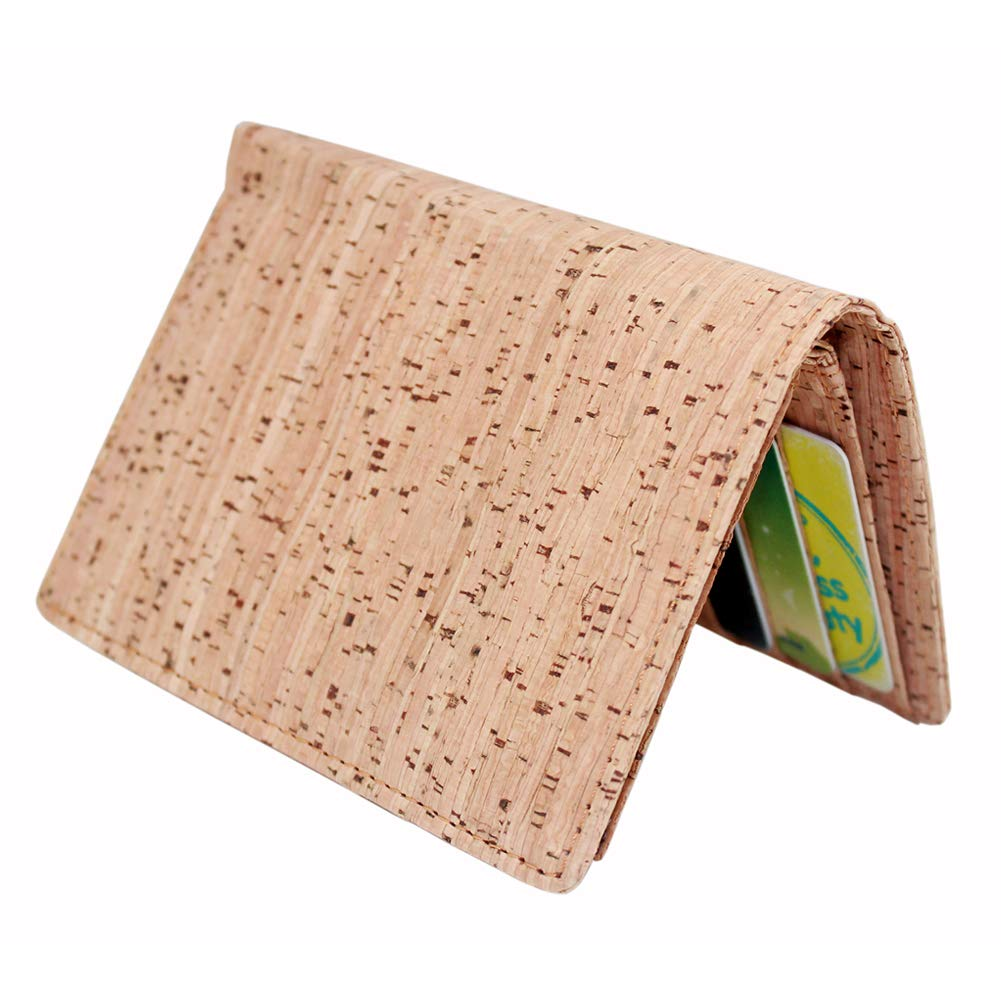 Boshiho Eco Cork Friendly RFID Blocking Wallet Bi-fold Card Holder Vertical Wallet With Zippered Coin Purse /& ID Window