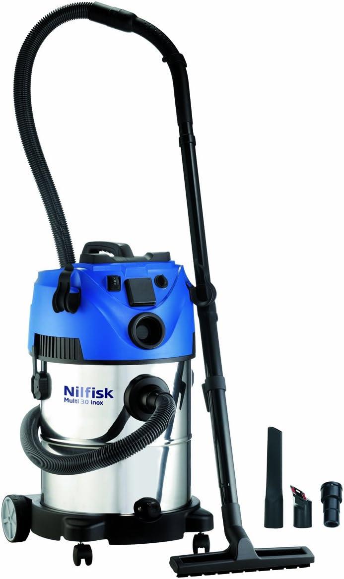 Nilfisk Multi 30 T VSC Inox Aspiradora en seco y húmedo, 1400 W, 30 litros, 66 Decibelios, Azul, Acero inoxidable: Amazon.es: Hogar