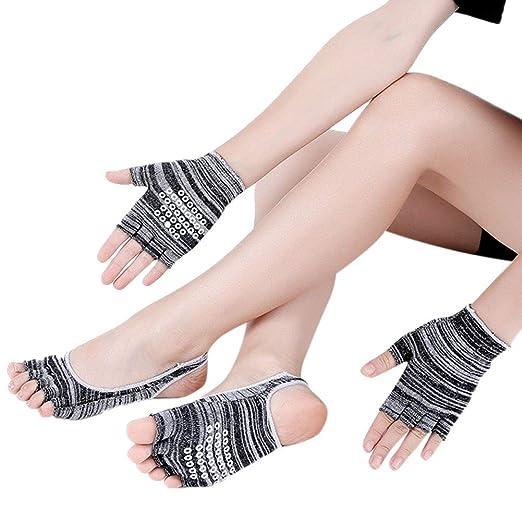 elegantstunning Calcetines de Yoga de Mujer + 1 PAR de ...