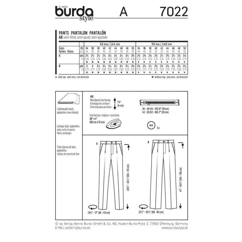 eine Bundfalte Gr 44-60 Burda Schnittmuster Herrenhose