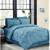 Vintage Damask 8-Piece Bed in a Bag Set Teal (Queen)