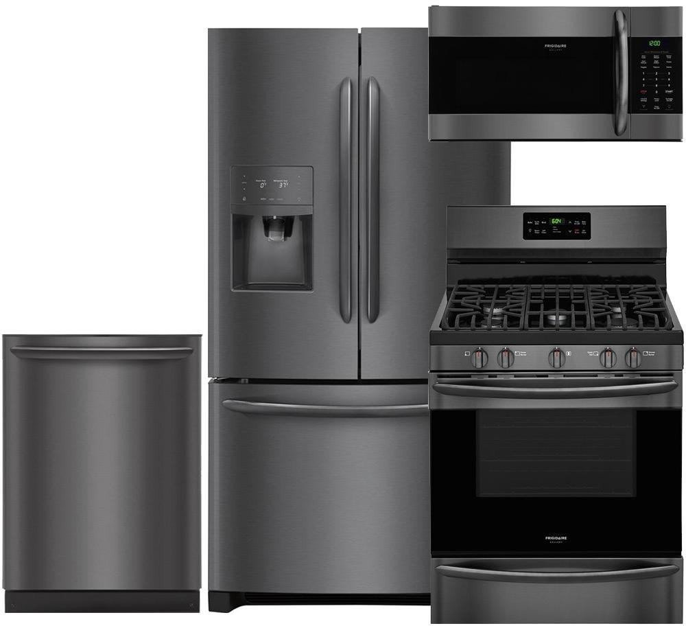 "Frigidaire Gallery 4-Piece Black Stainless Steel Package with FGHB2868TD 36"" French Door Refrigerator, FGGF3036TD 30"" Freestanding Gas Range, FGID2466QD 24"" Dishwasher and FGMV176NTD microwave"