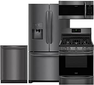 """Frigidaire Gallery 4-Piece Black Stainless Steel Package with FGHB2868TD 36"""" French Door Refrigerator, FGGF3036TD 30"""" Freestanding Gas Range, FGID2466QD 24"""" Dishwasher and FGMV176NTD microwave"""