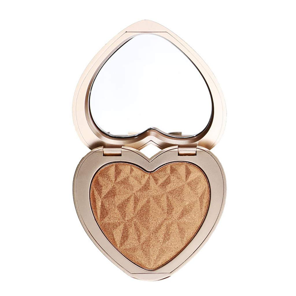 LiPing Heart Shape Shimmer Pressed Face Highlight Powder Brightening Makeup Power (A)