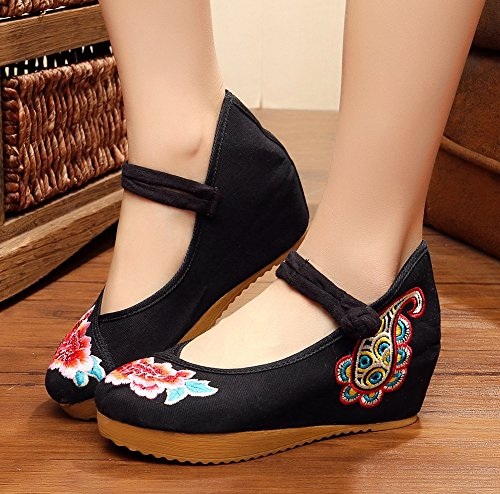 Shoes AvaCostume Platform Jane Mary Oxford Women Embroidery Black Beads gHWqwPBH