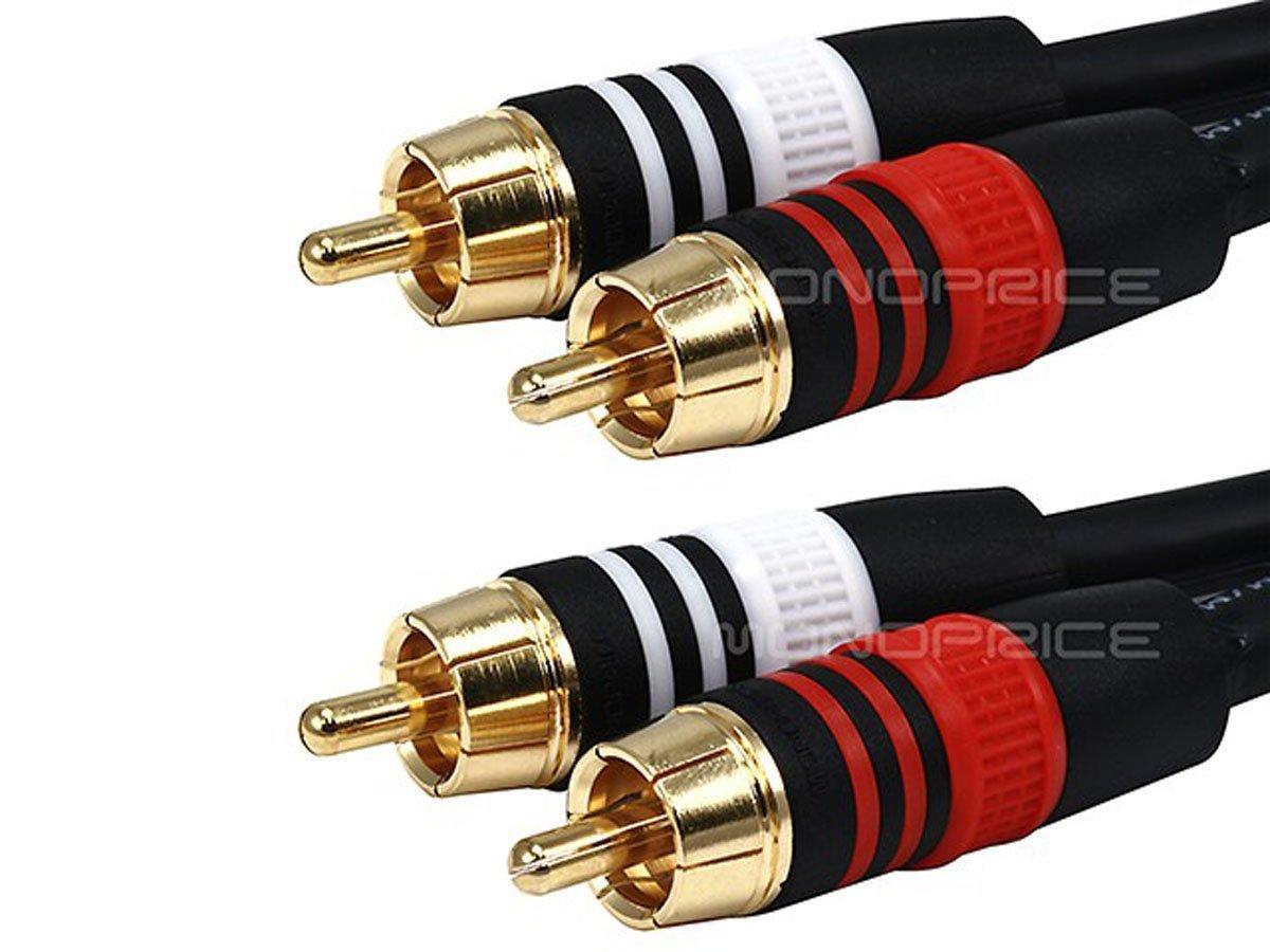 Monoprice 105350 100-Feet 22AWG Premium 2 RCA Plug to 2 RCA Plug Cable - Black by Moonrise (Image #2)