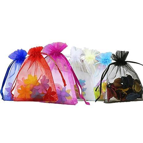 Anleolife - 100 bolsas de organza de colores surtidos ...