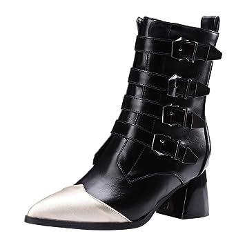 ZHRUI Zapatillas para Mujer Botas de Interior para Zapatillas, Moda Hebilla de cinturón de Cuero