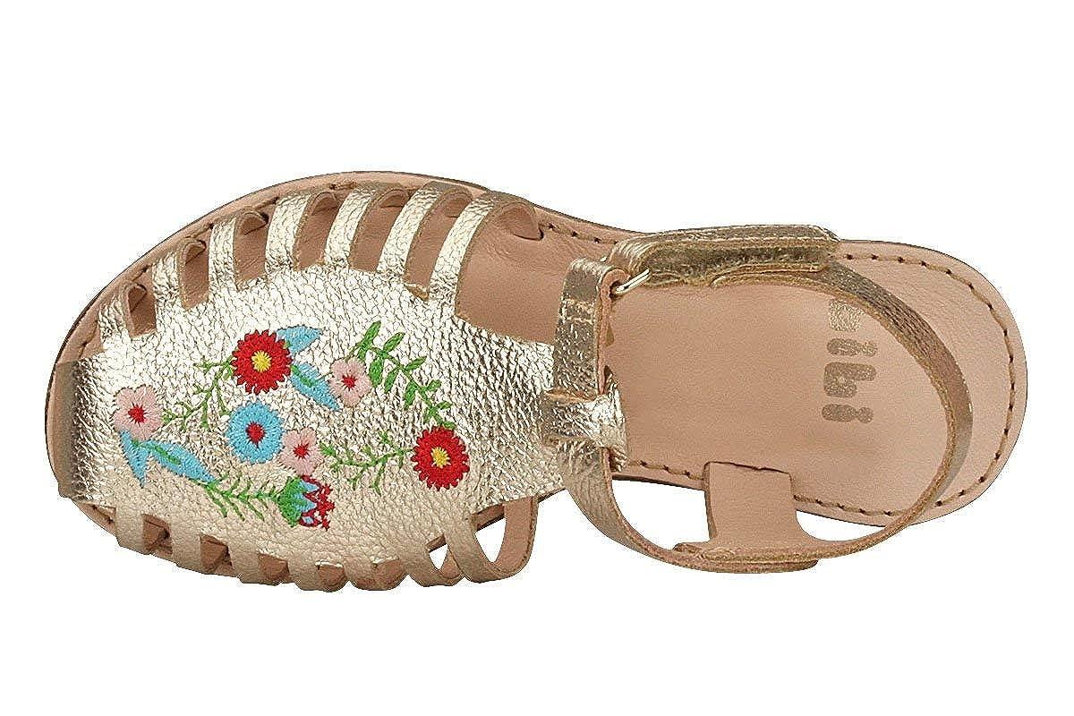 KIDKLICK FUN FASHION FROM BRAZIL Girls Flower Embroidery Sandal in Gold Sizes 9.5 Little Kid - 5 Big Kid