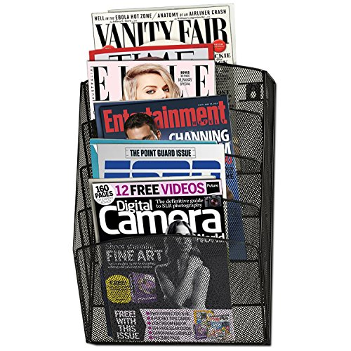 Halter Steel Mesh Wall Hanging Magazine Rack Literature Rack - 5 Pocket - Black - 17.25