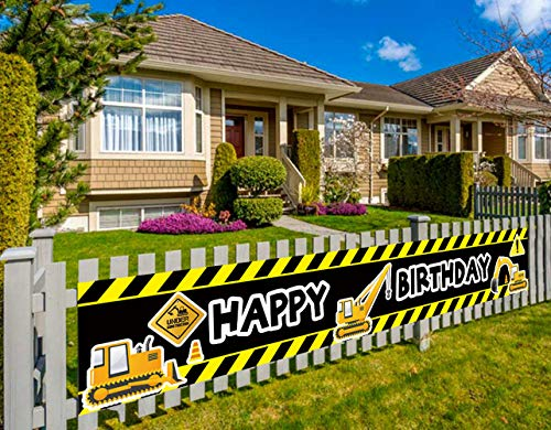 Construction Vehicle Happy Birthday Banner, Baby Boy Toddler Kids Construction Theme Birthday Party Decorations Supplies, Backdrop Background Photo Booth Props Outdoor Indoor (9.8 x 1.5 feet)