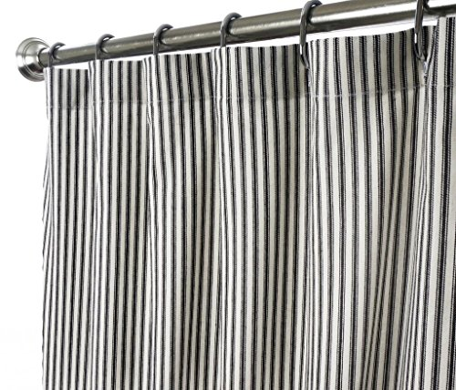 Decorative Things Extra Long Shower Curtain Unique Designer Modern Black and White Striped Ticking 84 Inches (Curtains Ticking Black)